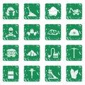 Miner icons set grunge