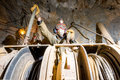 Miner inside a gold mine. Royalty Free Stock Photo