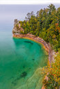 Miner s castle on lake superior is a rock formation jutting out into the clear waters of at michigan pictured rocks national Stock Images
