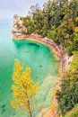 Miner s castle on lake superior is a rock formation jutting out into the colorful waters of at michigan pictured rocks national Stock Image