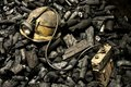 Miner tools and coal Royalty Free Stock Photo