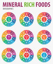 Mineral rich foods infographics.