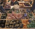 Minerals for sale lots of various at a sales stall Royalty Free Stock Images