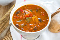 Minestrone soup [Bean,Zucchini soup] Royalty Free Stock Photo