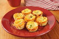 Mini bacon quiche a plate of with applewood smoked swiss cheese and spinach Stock Photography
