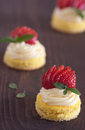 Mini cake strawberry with cream Stock Photo