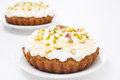 Mini carrot cake with mascarpone honey and pistachios close up Royalty Free Stock Photography