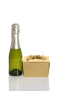 Mini champagne with gold gift Royalty Free Stock Photo