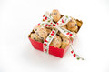 Mini Christstollen in a red tray with ribbon