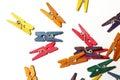 Mini colourful clothes pegs Lizenzfreies Stockfoto