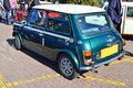 Mini cooper a in metalic british racing green displayed at the coleford classic car show in easter Stock Photo