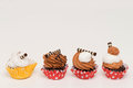 Mini cupcakes with assorted flavors Royalty Free Stock Photo