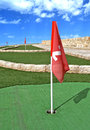 Mini golf route flags holes Royalty Free Stock Photography