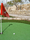 Mini golf route flags holes Stock Images
