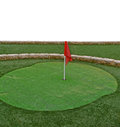 Mini golf route flags holes Royalty Free Stock Photo