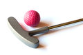 Mini golf stick colored balls isolated background Stock Images