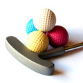 Mini golf stick colored balls isolated background Royalty Free Stock Image
