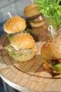 Mini hamburgers close up food Stock Images