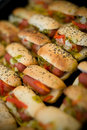 Mini hot-dogs Photos stock
