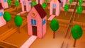 Mini house and neighborhood cartoon scene Stock Photos