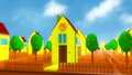 Mini house and neighborhood cartoon scene Stock Image