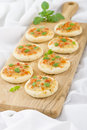 Mini margherita pizzas small with tomato sauce cheese and basil topping party food Stock Images