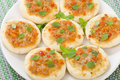Mini margherita pizzas small with tomato sauce cheese and basil topping party food Royalty Free Stock Photography