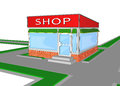 Mini market shop store retail shopping a facade trade Royalty Free Stock Image