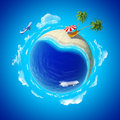 Mini planet concept. Sea shore holiays. Stock Photo