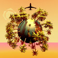 Mini planet and plane d design palms colored background Stock Photo