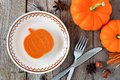Mini pumpkin shaped pie, overhead scene on rustic wood Royalty Free Stock Photo