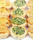Mini Quiche Appetizers in Rows Stock Photography