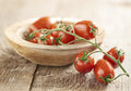 Mini san Marzano vine tomatoes Royalty Free Stock Photo