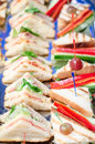Mini sandwiches different in a buffet Royalty Free Stock Images
