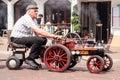 Mini steamtrain man on on festival poole uk Stock Photos