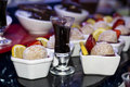 Mini strawberry and cream cake desserts coconut Royalty Free Stock Image