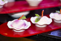 Mini strawberry and cream cake desserts coconut Royalty Free Stock Photos