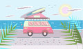 Mini van with surf Board on the roof on the sea beach. Vector illustration in flat style. Royalty Free Stock Photo