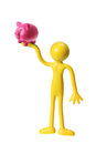 Miniature Figure with Piggybank Stock Photography