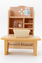Miniature furniture closeup of for dollhouse Stock Photo