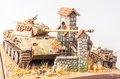Miniature with german tank panther in european yard world war time Royalty Free Stock Image