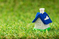 Miniature house close up of on green grass Stock Images