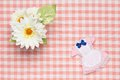 Miniature maid outfit and flowers this is a photograph of a Stock Photography