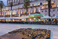 Miniature model of split s old town at riva diocletian palace and the promenade in croatia evening Stock Images
