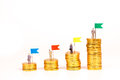 Miniature people with gold coin Royalty Free Stock Photo