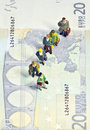 Miniature queue twenty euros Stock Photography