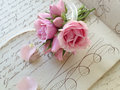 Miniature rose bouquet on th century page small bunch of fresh roses tied with ribbon vintage pages with penmanship flourishes Stock Photography