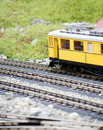 Miniature toy model of modern train Royalty Free Stock Photos