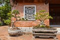 Miniature trees in temple of literature hanoi vietnam two nice example art penjing artistically formed and landscapes Stock Photos