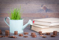 Miniature watering pot with fresh green spring grass and small change. Abstract background for business and development Royalty Free Stock Photo